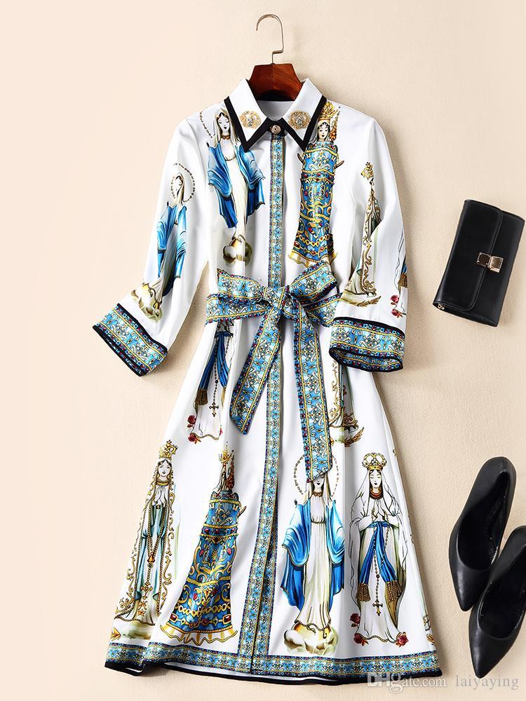 735bcecd2bd9 Acquista Abbigliamento Donna Europea Ed Americana 2018 Inverno Nuovo Stile  Perla Corona Risvolto Abito Con Stampa A Manica A Sette Punti A  74.97 Dal  ...