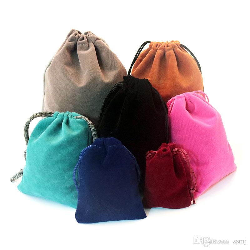 Wholesale 50pcs/lot 7*9cm 9*12cm Velvet Bags With Drawstring Gift Wraps  10Colors Jewelry Collection Pouches for Party Wedding