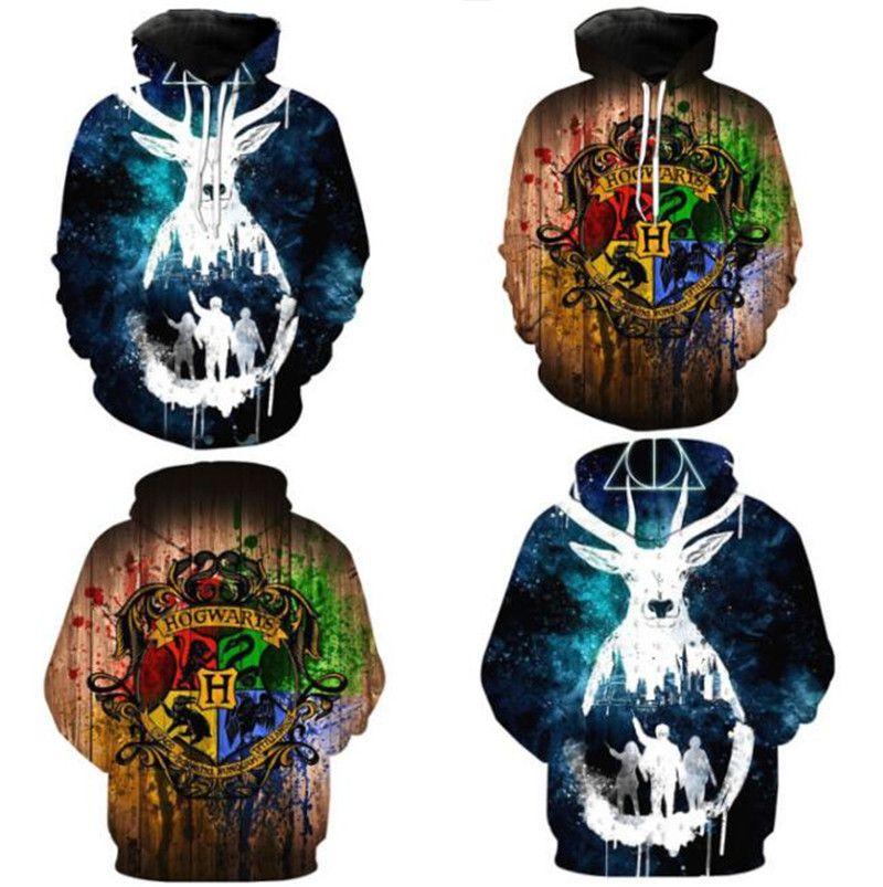 8fe9f2b7 Unisex Harry Potter Hoodies Sweatshirts 3D Digital Print Pullover ...
