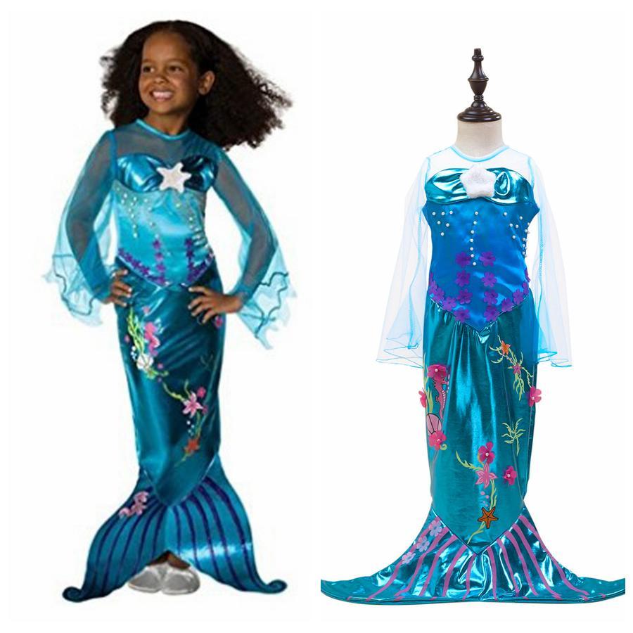 c69f25a9bd04 Acquista Ragazze Sirena Principessa Abito Bambini Halloween Sirenetta Ariel  Costume Cosplay Abbigliamento Trasparente Manica Lunga Abiti Da Festa  OOA6390 A ...