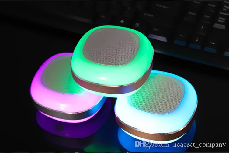 Colorful LED Lights Portable Mini Wireless Bluetooth Speaker 3D Stereo Sound Box Car FM Radio Music Player for iPad HTC Huawei