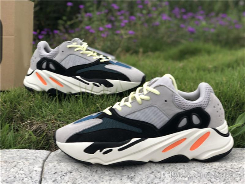 62a8702428f26 2019 2019 New Authentic Originals 700 V2 Wave Runner Solid Grey 3M Chalk  White Core Black Kanye West Man Running Shoes Sneakers B75571 Box From ...