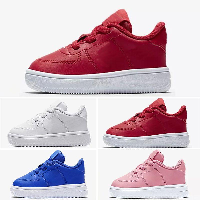 Nike air max force fly Venda 2019 Novas forças menino crianças Low Cut one 1 sapatos Branco Preto Dunk Sports Skateboarding Sapatos Clássicos AF fly