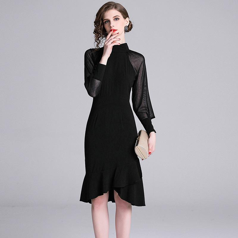 cf02c7c2b81 Sexy Black Bodycon Mermaid Dresses Stand Neck Long Sleeve Slim Fit ...
