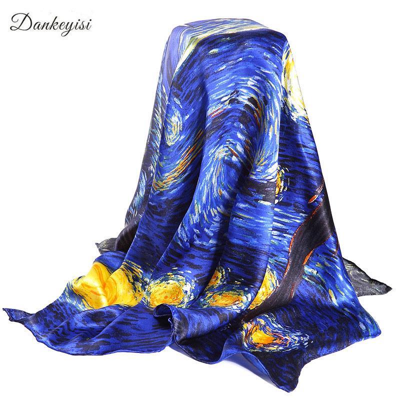 de30bdf2f713 Acheter DANKEYISI Van Gogh Peinture À L huile Réel Soie Foulard Carré 90    90 Cm Grand Mode Femmes Foulard De Luxe Marque Designer Foulards Femme Wrap  ...