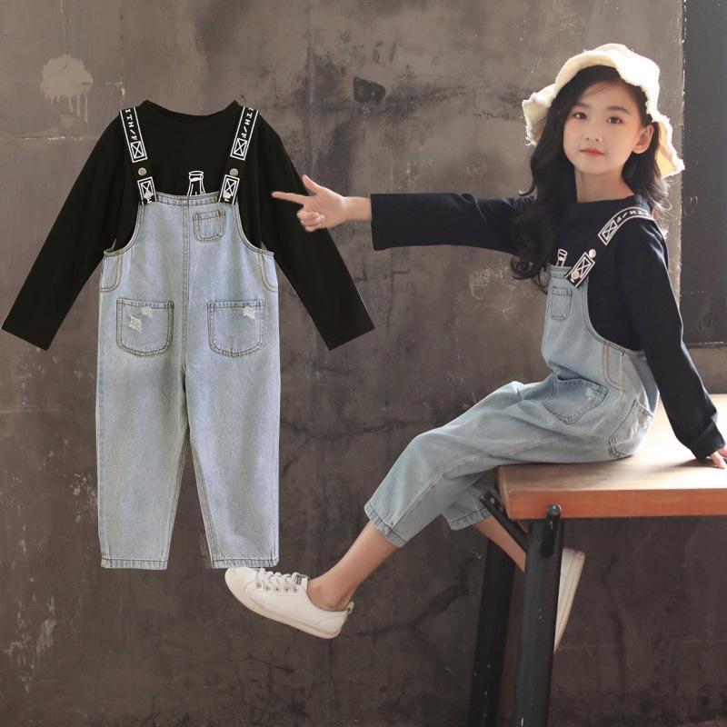 carina dettagli per immagini dettagliate Una generazione di ragazze vestiti autunnali bottiglie di birra denim bib  marea tempo libero abbigliamento sportivo coreano all ingrosso nuovo