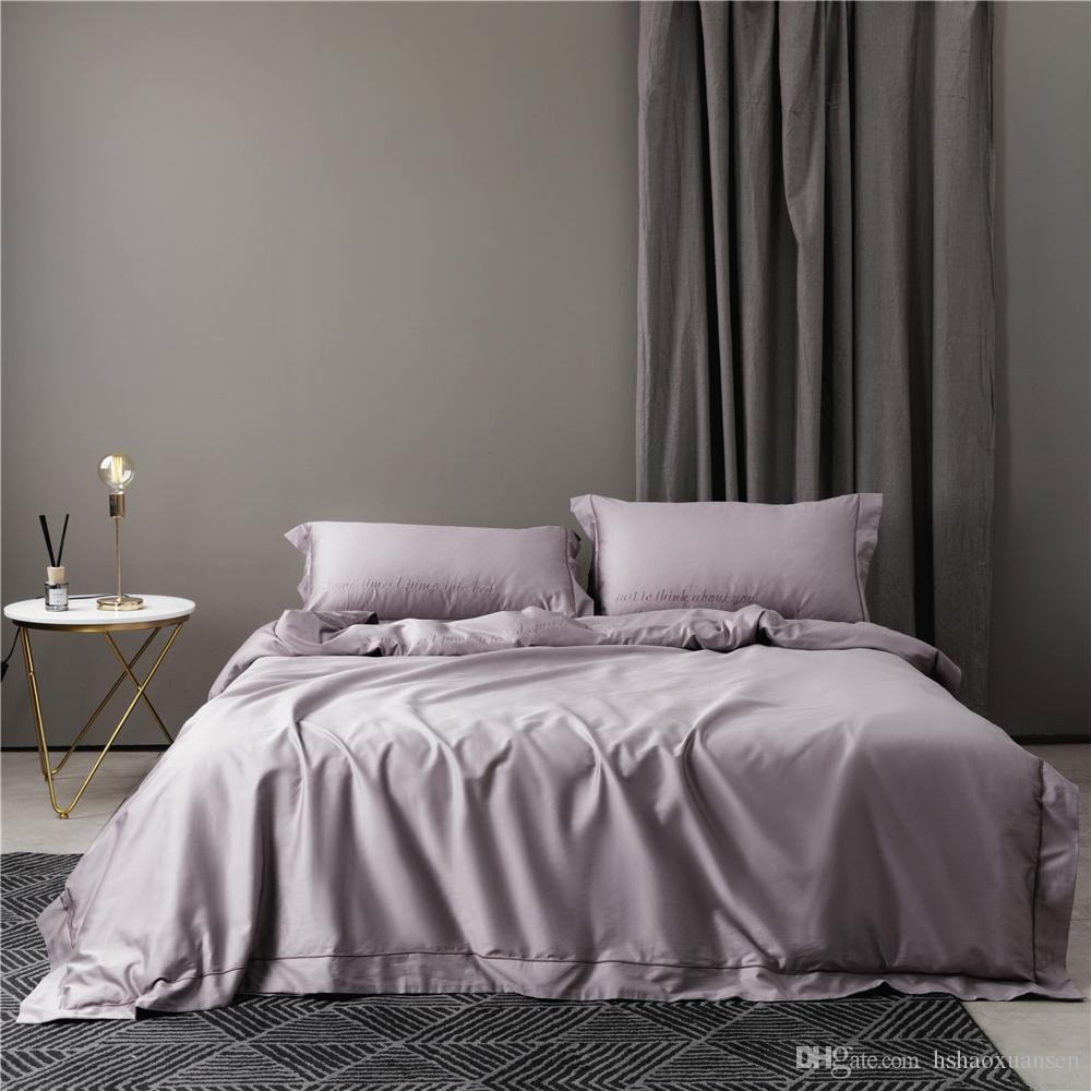 972b1a80ef Egyptian Cotton Embroidery Lilac Queen King Bedding Sets Sheets Pillow Case Duvet  Cover Simple Fashion Luxury Gift Box Kidsline Bedding Duvet Queen From ...