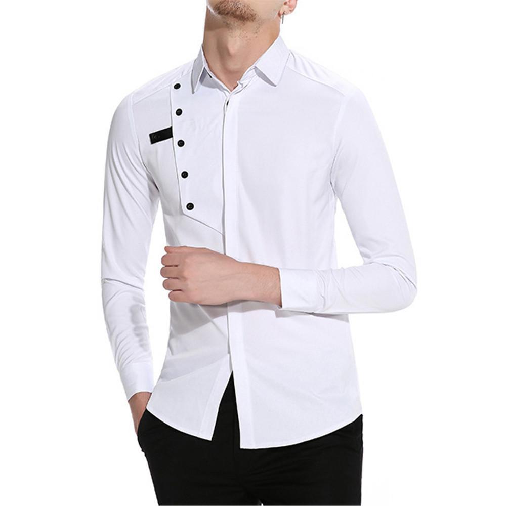 de5b9a8ec0 Compre Boda Camisa Blanca De La Moda De La Novedad Elegante Blusa Hombres  Tops Manga Larga Blusa Del Partido Del Smoking Del Varón De La Ropa Camisa  Fresca ...