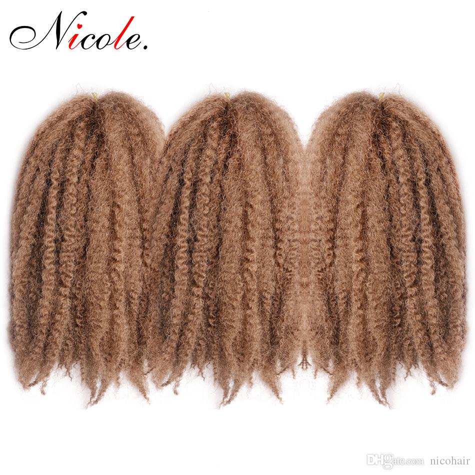 Nicole Hair 18Inch 20 Roots/Pack Afro Kinky Twist Hair Crochet DIY Braids Hairstyle Synthetic Braiding Hair Extension High Temperature Fibe