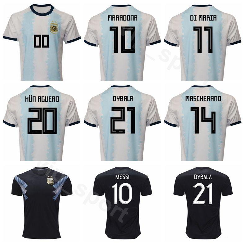 size 40 1f786 7ccd1 2019 2020 Argentina Soccer 10 Lionel Messi Jersey White Black 11 DI MARIA 9  AGUERO 22 MARTINEZ 17 OTAMENDI Football Shirt Kits S-XXL