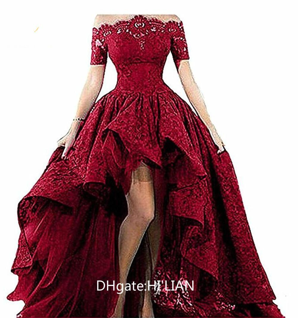 d7c670cc3f57 Black Lace Strapless Off The Shoulder Short Sleeves High Low Prom Dresses  Evening Gowns Vestido Longo Formal Occasion Long Sleeved Evening Dresses  Purple ...