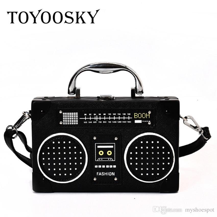 a0047865a1e TOYOOSKY Personality Retro Radio Shape Bag Ladies Cute Leather Handbag  Women Box Shoulder Bag Messenger Rock Crossbody #113074