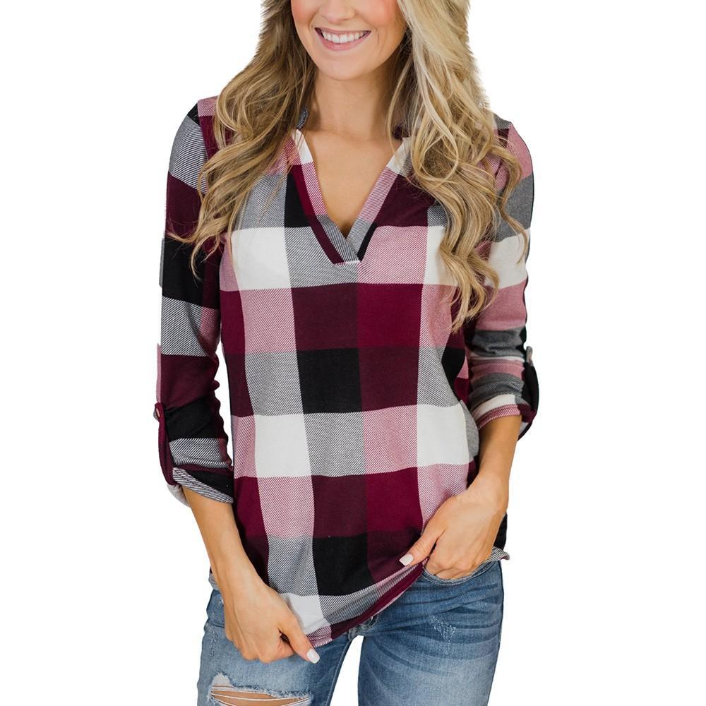 d3672f8549de9 Vintage 2019 New Spring Autunmn T Shirt Women Roll Up Long Sleeve V Neck  Button Plaid Lattice Korean Style Women Chemise Femme Sports T Shirts Geek T  Shirts ...