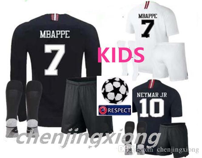 ebed24600f53 Kids Champions League Psg Soccer Jersey Kit Paris 18 19 MBAPPE Black  Maillot De Foot 2018 2019 CAVANI PRE-MATCH Boys Child Football Shirts Kids  Champions ...