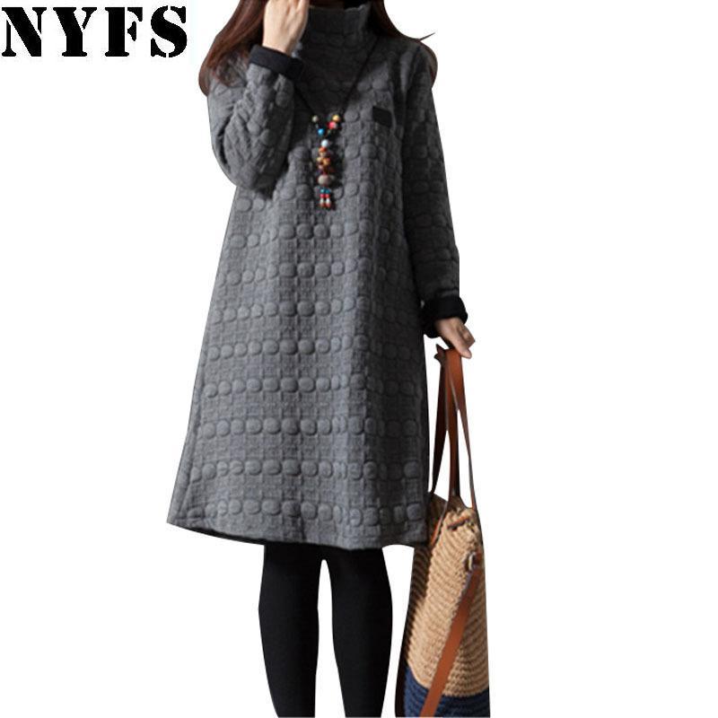 c8e290e4b Compre NYFS 2019 Novo Grosso Outono Inverno Vestido De Mulheres De Manga  Longa Do Vintage Tamanho Grande Gola Alta Vestido De Maternidade Vestidos  Robe ...