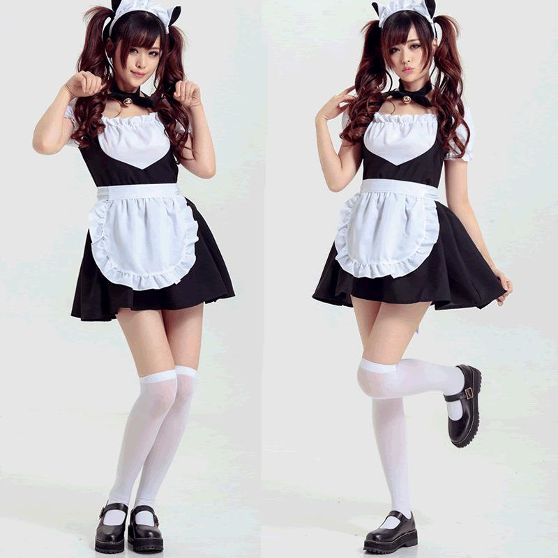 Cute Anime Cat Bell Maid Dress Claasic Cosplay Costume ...