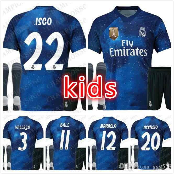 outlet store d7001 e3276 19 EA Sports Real Madrid Special Kids Kit Socks Soccer jerseys MODRIC  SERGIO RAMOS KROOS BENZEMA ISCO BALE Boy Child Suit Football Shirts