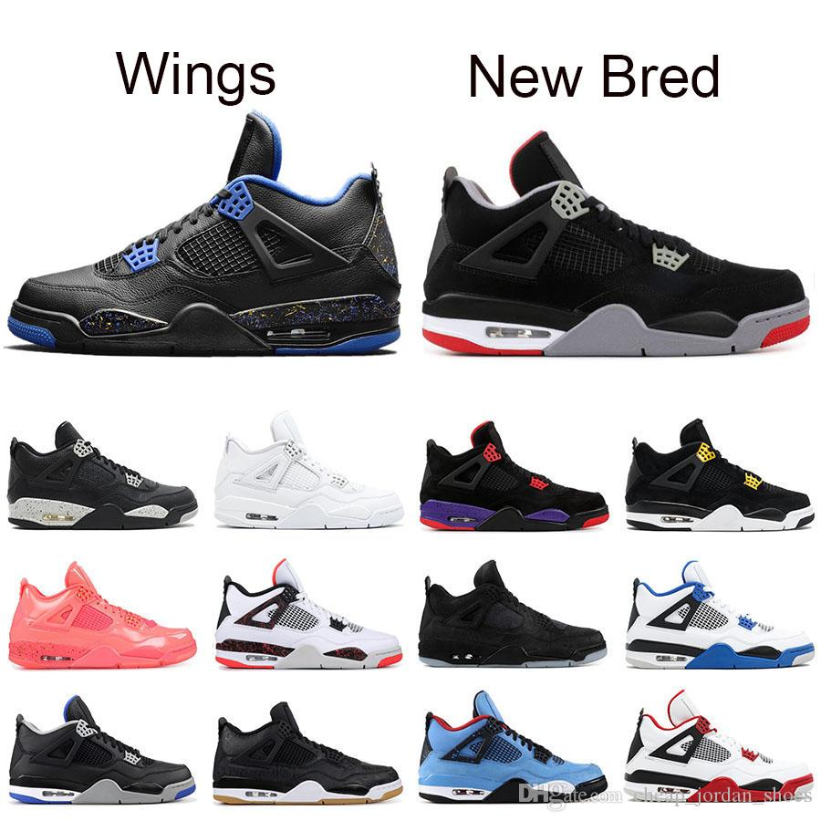 8fac810f0ef4 New Bred 4 Mens Basketball Shoes 4s Black Red PALE CITRON Cat PURE MONEY  OREO White Cement ALTERNATE Wings Fashion Men Sports Sneakers Basketball  Gear ...