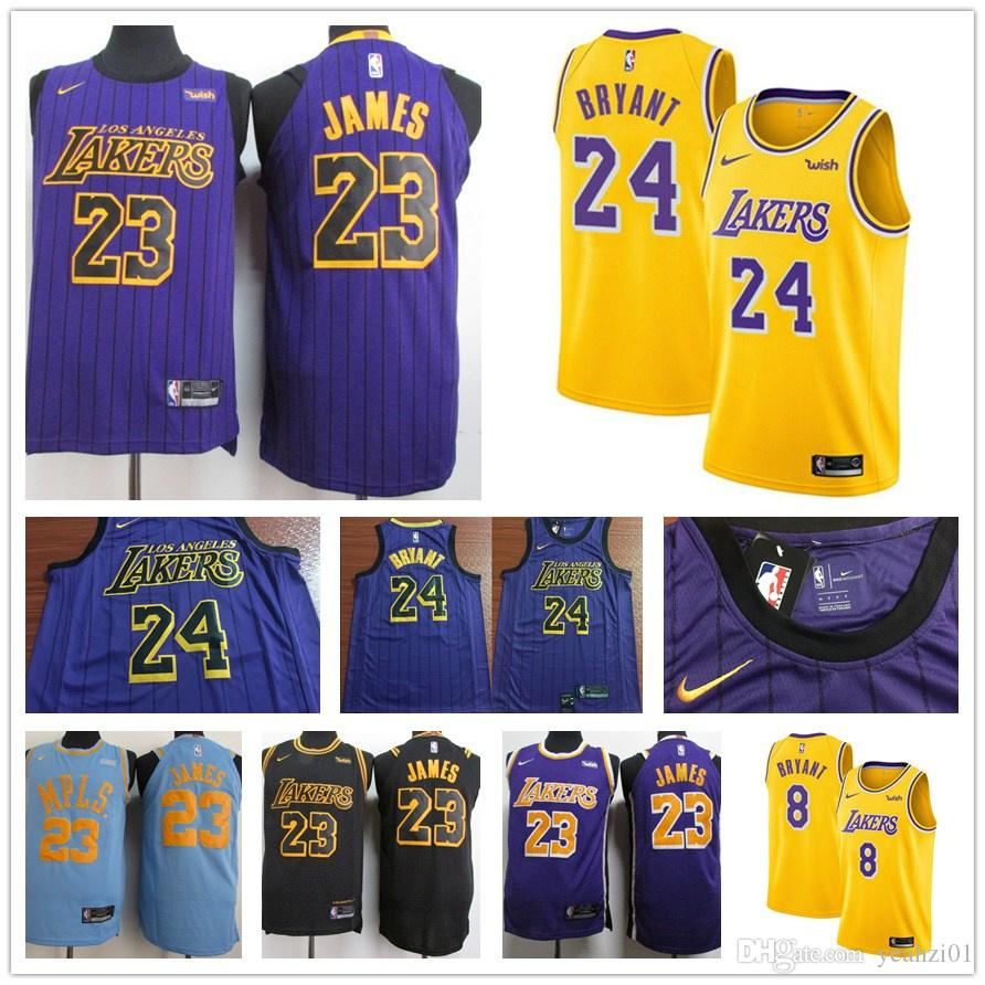 brand new d5b28 861eb 2019 NEW 23 Los James la laker Jersey LBJ lonzo Ingram Kyle ball Angeles  Kuzma Brandon LeBron Black Basketball Jerseys
