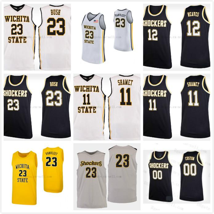info for 39ee6 8490b Wichita State Shockers College #11 Landry Shamet #12 Austin Reaves #14  Jacob Herrs Basketball Jerseys Mens Stitched Custom Any Number Name