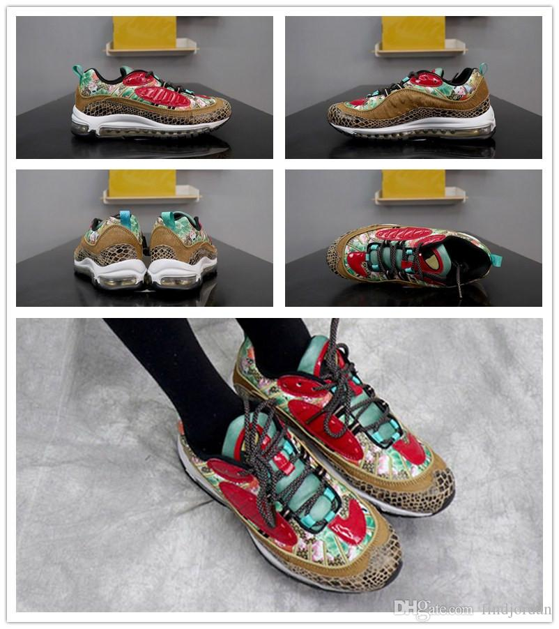 e97fdf3cf9a3 2019 High Quality 98 CNY Chinese New Year Pony Hair Snakeskin Lotus Flowers  Chinese Artwork Men Sports Shoes 98s Beige Red Mens Trainers Sneakers From  ...