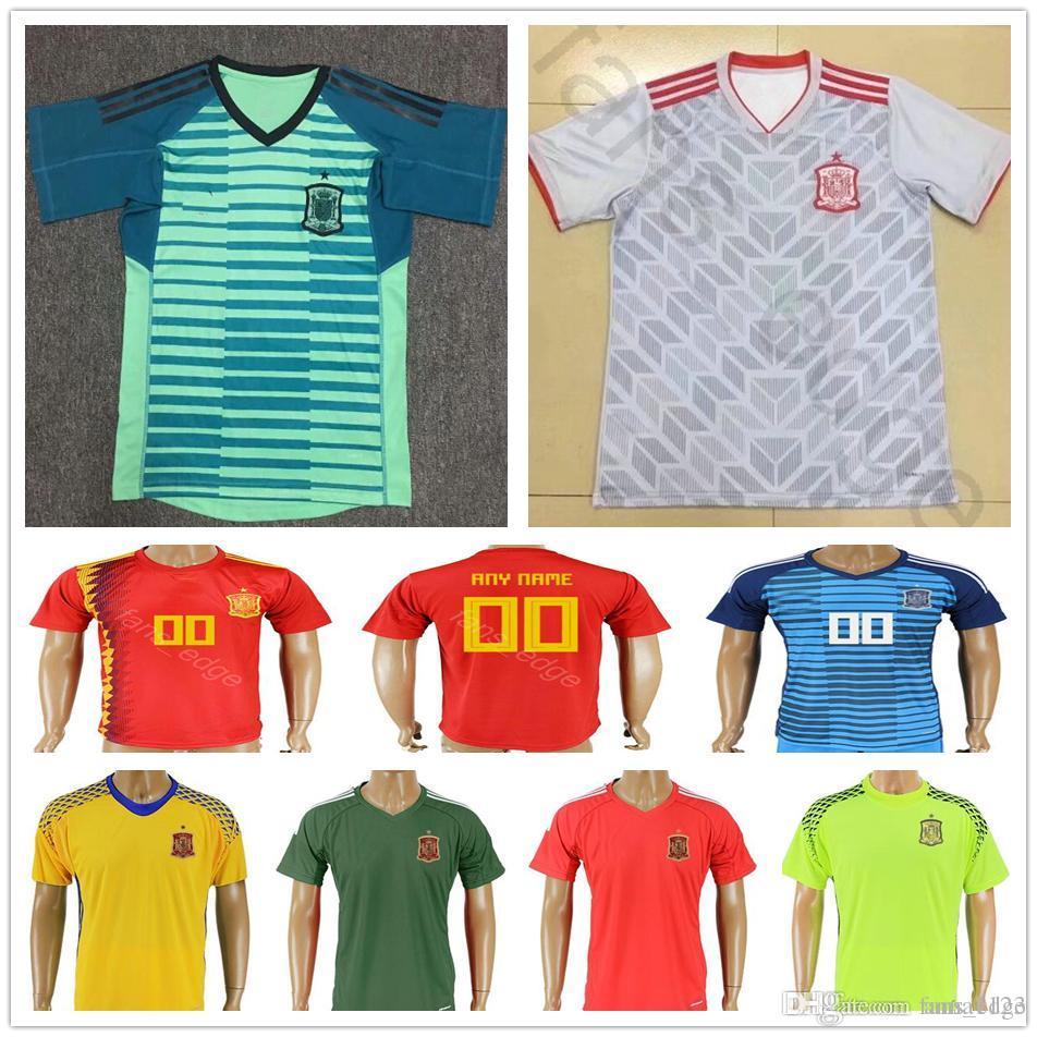 low priced 1ab54 eae00 2018 World Cup Spain Goalkeeper Soccer Jersey 1 DE GEA IKER CASILLAS 23  REINA 13 ARRIZABALAGA Custom Home Away Short Sleeve Football Shirt