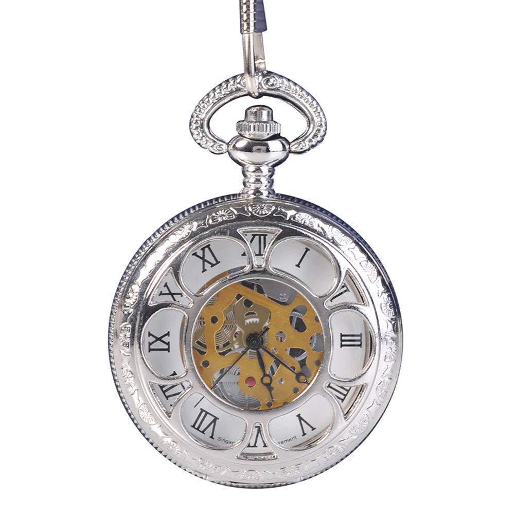 6b362656d8b0 Compre Reloj De Bolsillo Para Hombre Con Cadena Plateada Y Números Romanos  De Cuarzo Hunter. A  34.75 Del Nectarine99