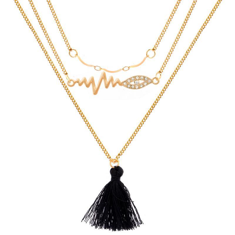 d9849d7bc711 Compre Collar De Diamantes De ECG Con Flecos Y Cadena De Suéter De  Múltiples Capas Para Damas De Europa Y América A  1.58 Del Marina1213