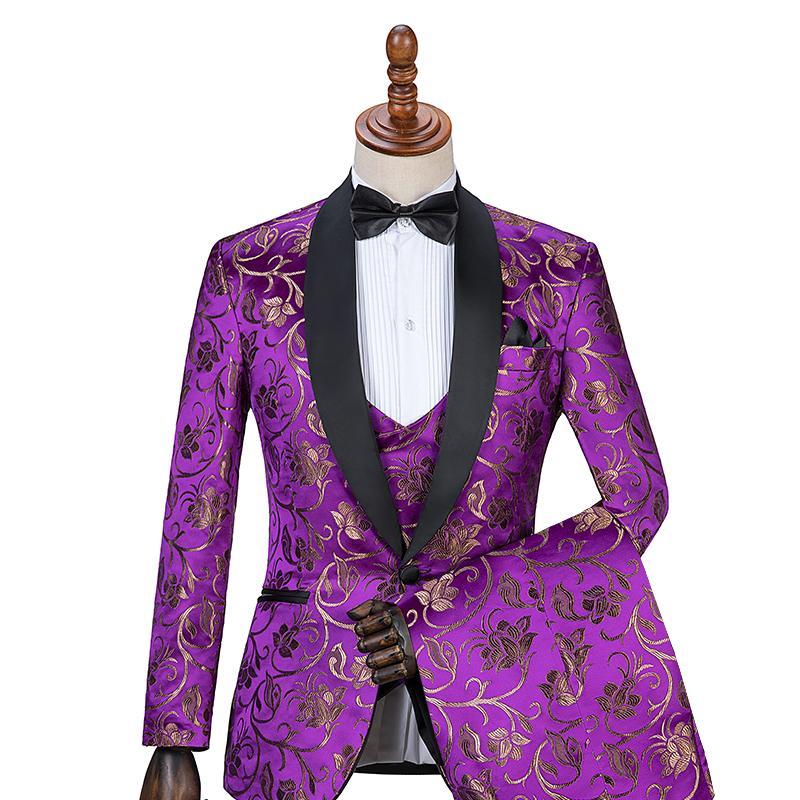 bf3a3bfaf3f0 Gwenhwyfar 10 Colour Groom Wear with Purple Shawl Lapel Wedding ...
