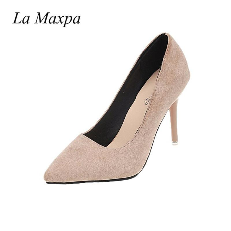 e092eb9929d Dress Shoes La Maxpa Women 10cm Thin Flock High Heels Slip On Red Bottom  Pumps Pointed Toe High Luxury Lady Dress Plus Size 34 43 Shoes For Men Womens  Shoes ...