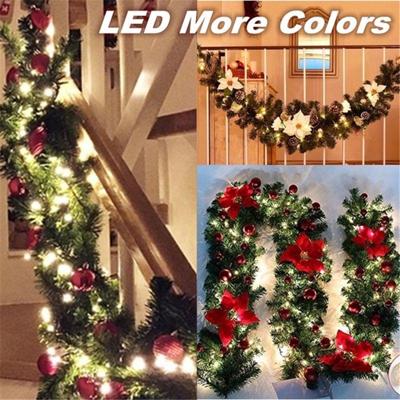2 7m Christmas Garland Decoration Rattan Lights Wreath Mantel