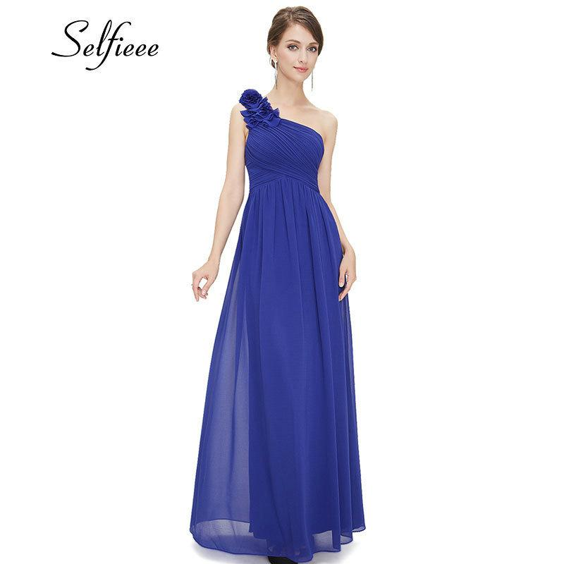 Plus Size Purple Long Summer Elegant Burgundy Chiffon One-shoulder Simple Wedding Party Dresses For Women Q190524
