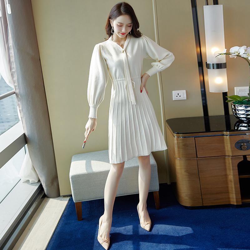 27f0126c5bc5 Acquista Abiti Eleganti Primavera Autunno Le Donne Con Maniche Lunghe Stile  Coreano Elegante Lavoro Ufficio Vestito F0482 Con Cintura A  35.37 Dal  Sarmit ...