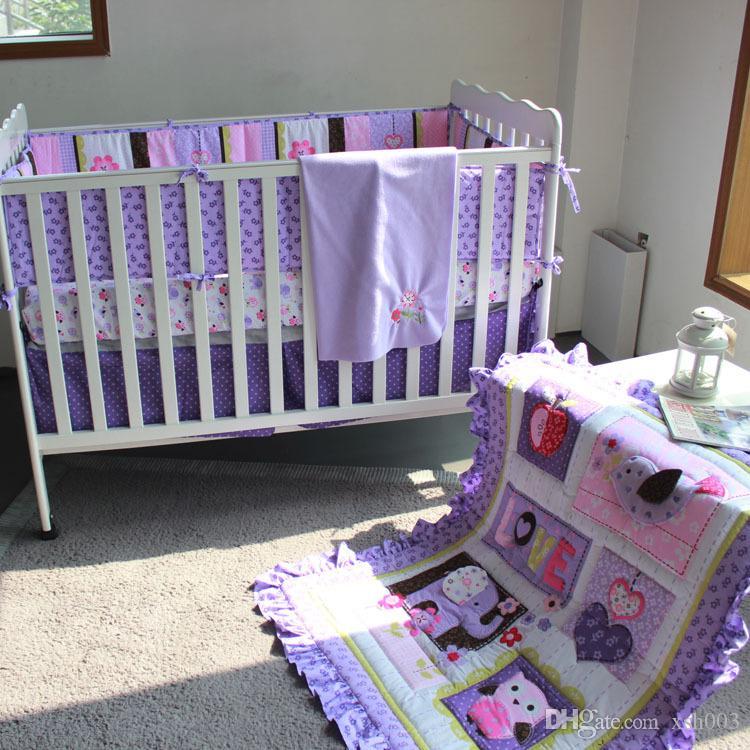 Mode Krippe Stoßfänger Set 8pcs Lila Kinderbett Bettwäsche Set für  Neugeborene Mädchen Baby Bettwäsche Set 3D Stickerei Elefant Eule Quilt ...