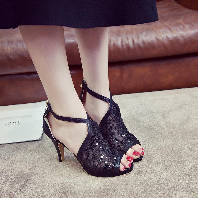 239a472ab0af Dress Lucyever 2019 Summer Women Sandals Sexy Cut Out Peep Toe High Heels  Ladies Sandals Fashion Hollow Out Party Shoes Woman Pumps Skechers Shoes  Mens ...