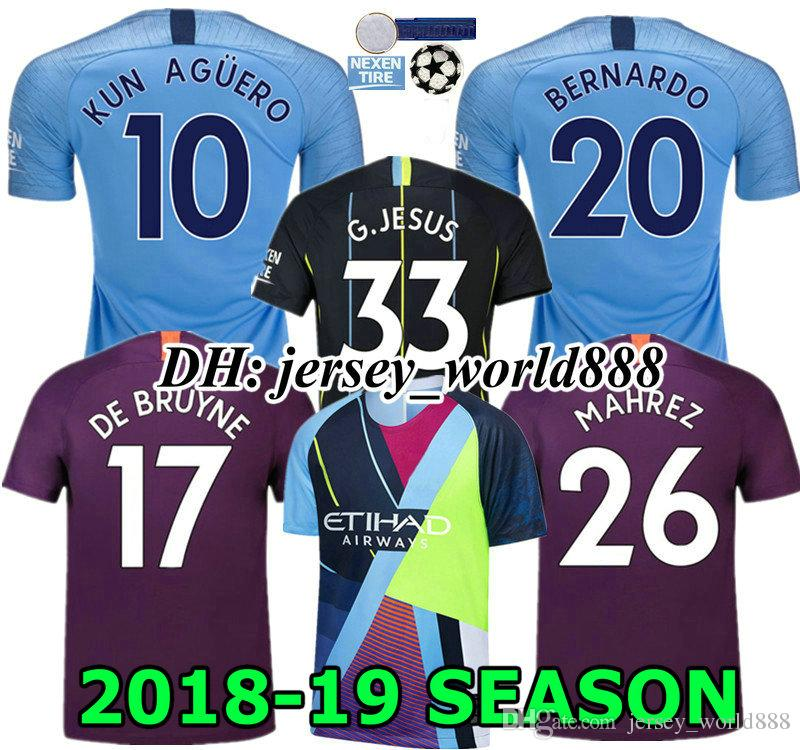 50a335436 2019 BERNARDO 18 19 KUN AGUERO G.JESUS Home Blue Soccer Jersey 3RD SANE  STERLING SILVA KOMPANY DE BRUYNE CITY MAHREZ 2018 Away Football Shirt From  ...