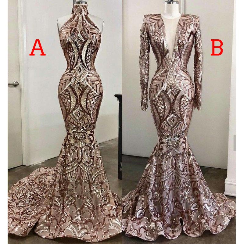 Black Girls Prom Dresses 2019 New Design Two Styles Mermaid Lace Sweep Train Vestido De Festa Plus Size Evening Gowns DP0194