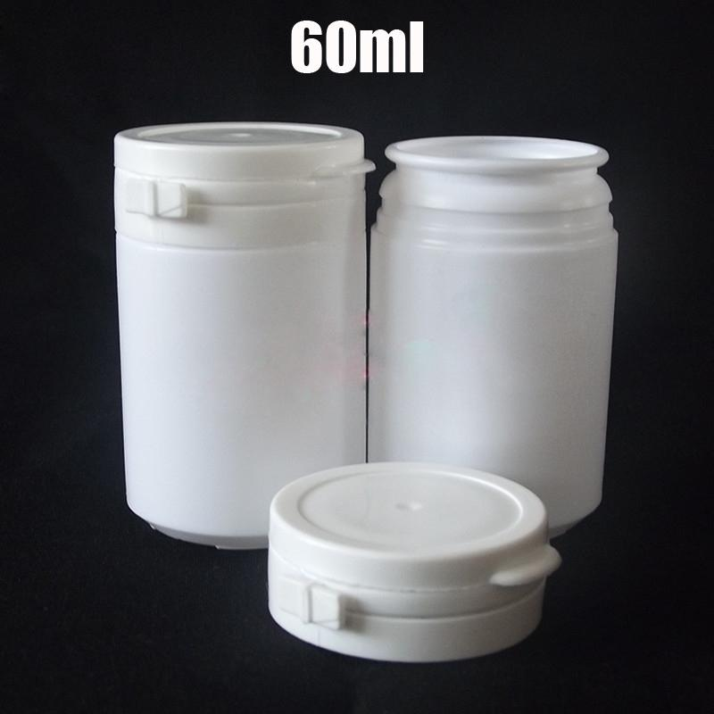 100pcs 60ml White round HDPE Bottles, Gum Bottle, Pills Container,  Bottle,Plastic Powder Bottle with Tearing Cap
