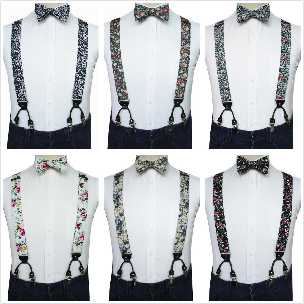 2f4b13b8a2ab JEMYGINS Original Flower Cotton Suspender Self Bowtie Hanky Set For ...