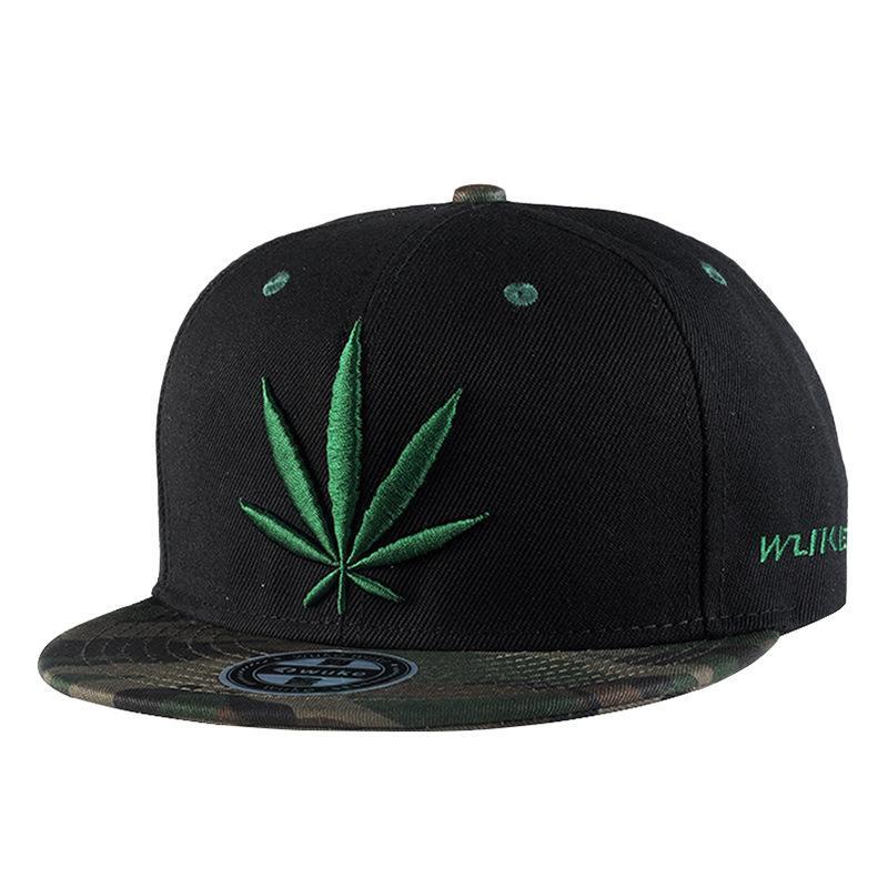 Hat Green Leaf Embroidery Hip Hop Cap Dome Fashion Flat Brim Cap New  Arrival Black Patchwork Adjustable Canvas Adult Spring Fall Hip Hop Cap Hats  Caps Flat ... 0a9dbeb798c