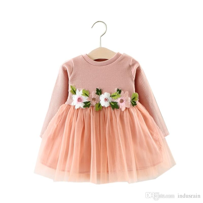 6cccb0d675db 2019 Cute Flowers Knitted Dresses For Girls Long Sleeve Infant Cute ...