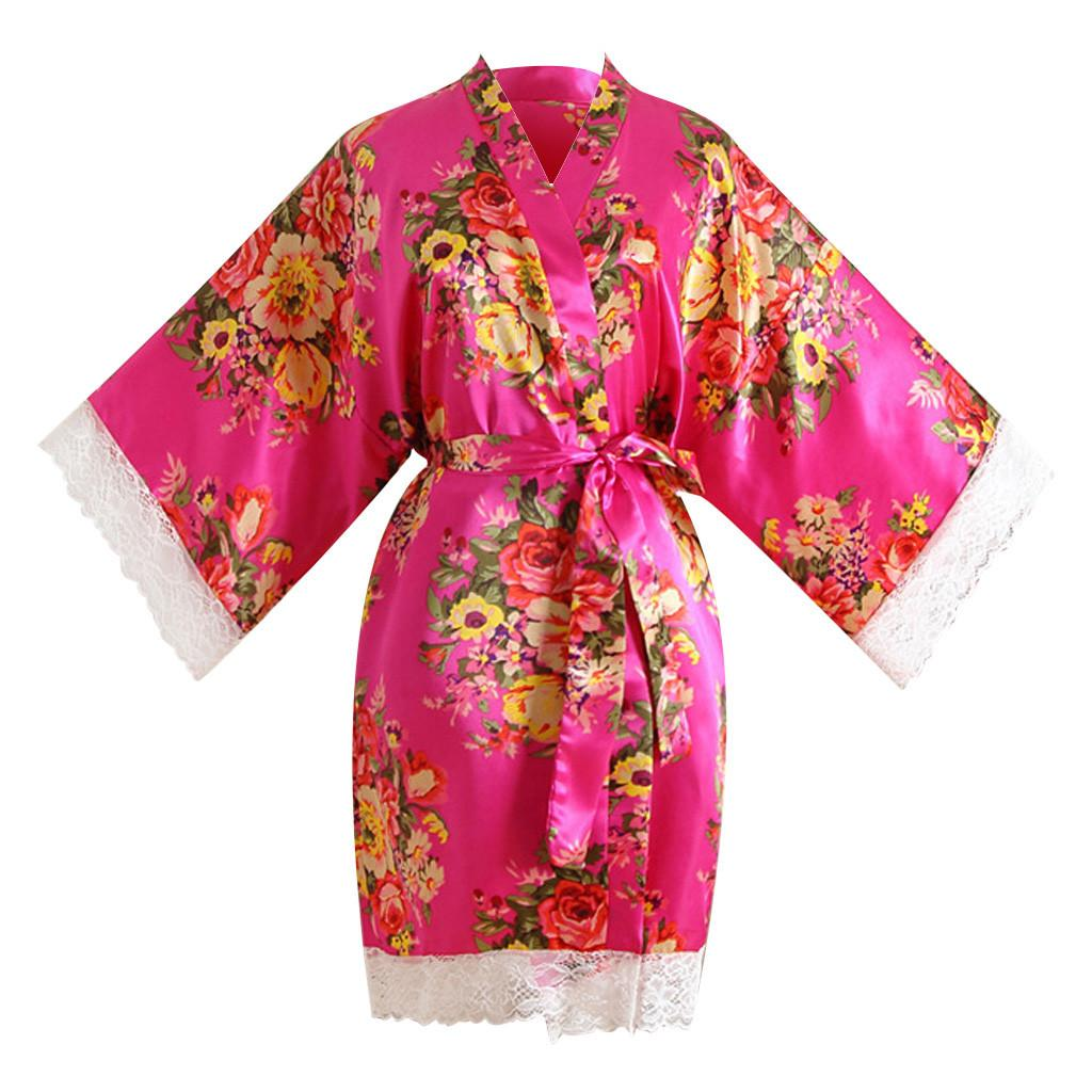 151fc6c62ce 2019 YOUYEDIAN Women Sexy Print Lace Trim Kimono Dressing Gown Bath Robe  Lingerie Nightdress Camisola De Dormir Feminino Seda 3 From Workwell