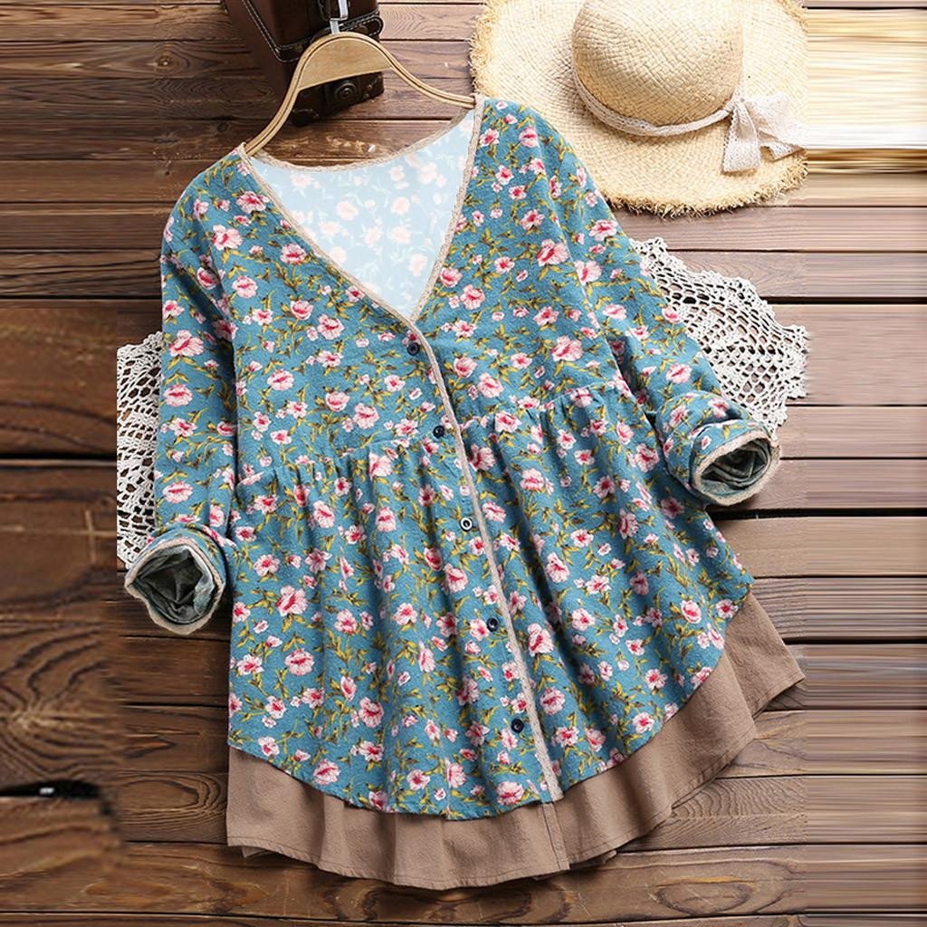 056bdce599f Womens tops and blouses Vintage Thicken Floral Print Long Sleeves V-Neck  Bodice Blouse Plus Size Feminino Shirt Holiday Tops @35