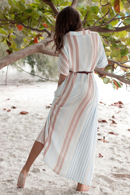 f7799e8413cd9e 2019 Summer Boho Long Beach Dress Women Tunic Button Front Open Split  Stripe Dress Bathing Suit Cover Up Swimwear Skirt Robe De Plage Summer Lace  Dresses ...