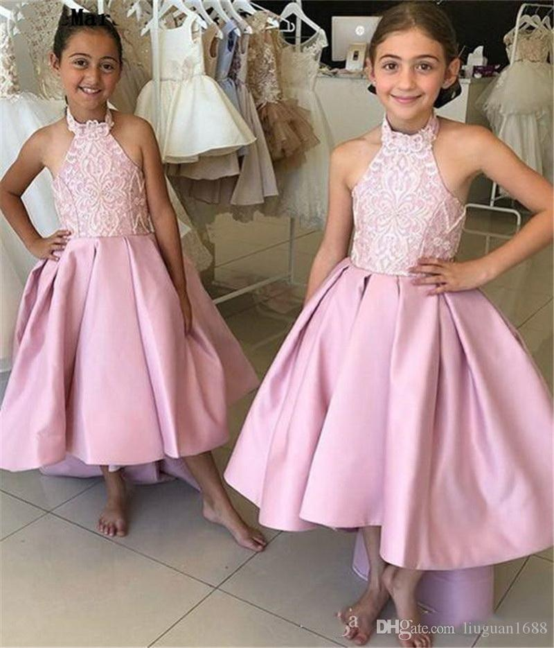 Longueur du sol Little Girls Pageant Robes dentelle encolure carrée Bow Appliques Satin formelle d'anniversaire d'enfants Prom Party Gowns7988