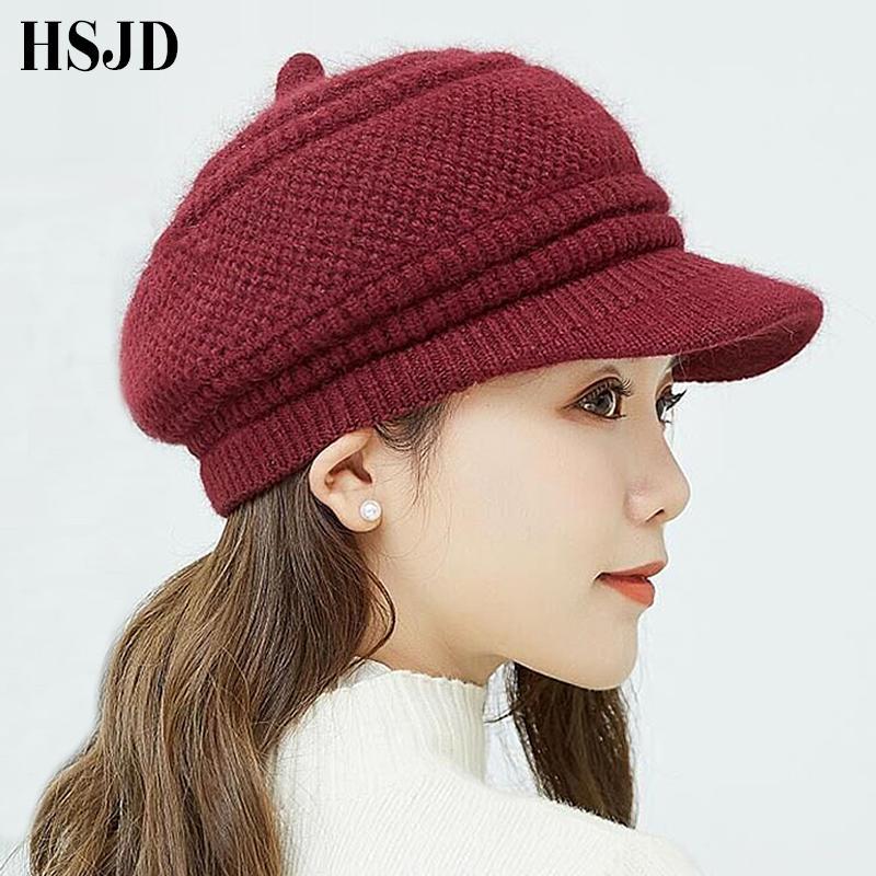 8ccc91bbb2d4 Новая Осень Зима береты шапочки вязаная шапка Кролик волосы Snapback Cap  Леди железный ...