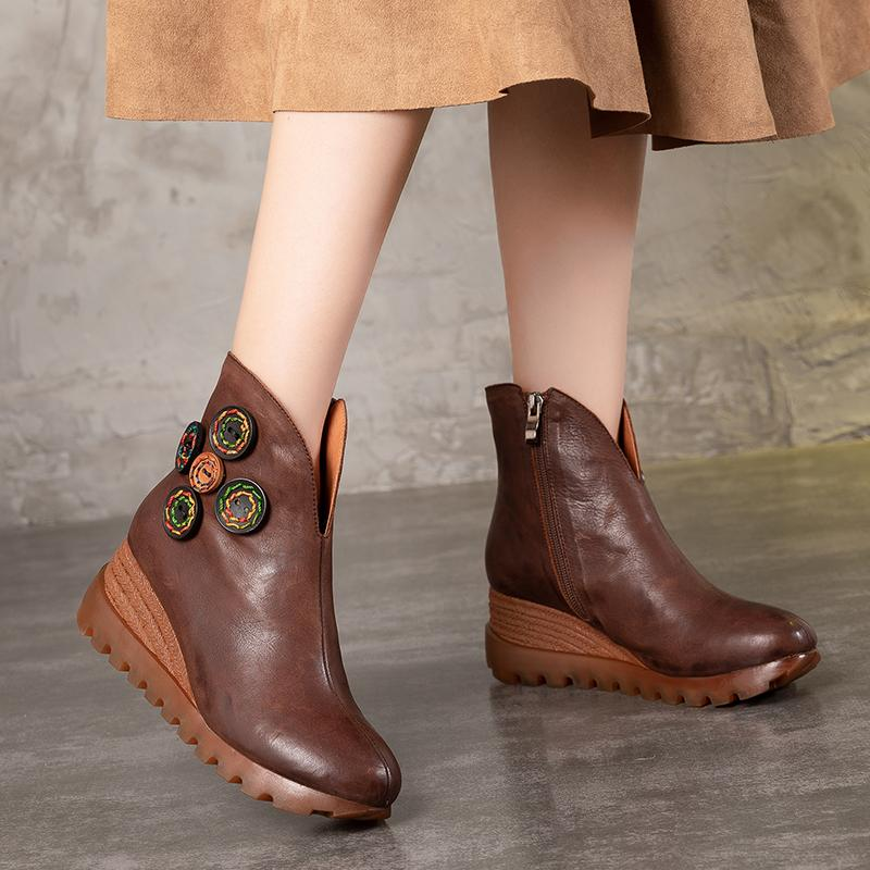 611d1245681 New Women S Shoes Colorful Stitch Button Design Hot Sale Lady Wedge Booties  Natural Leather Vintage Factory Female Platform Boot Red Shoes Footwear  From ...