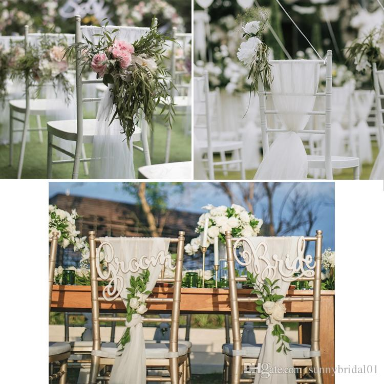 2019 Beautiful White Pink Wedding Chair Covers With Flower Romantic Chair Cover Decortive Long Tulle High Chair Skirt Slipcovers Wedding Supplies From ... & 2019 Beautiful White Pink Wedding Chair Covers With Flower Romantic ...