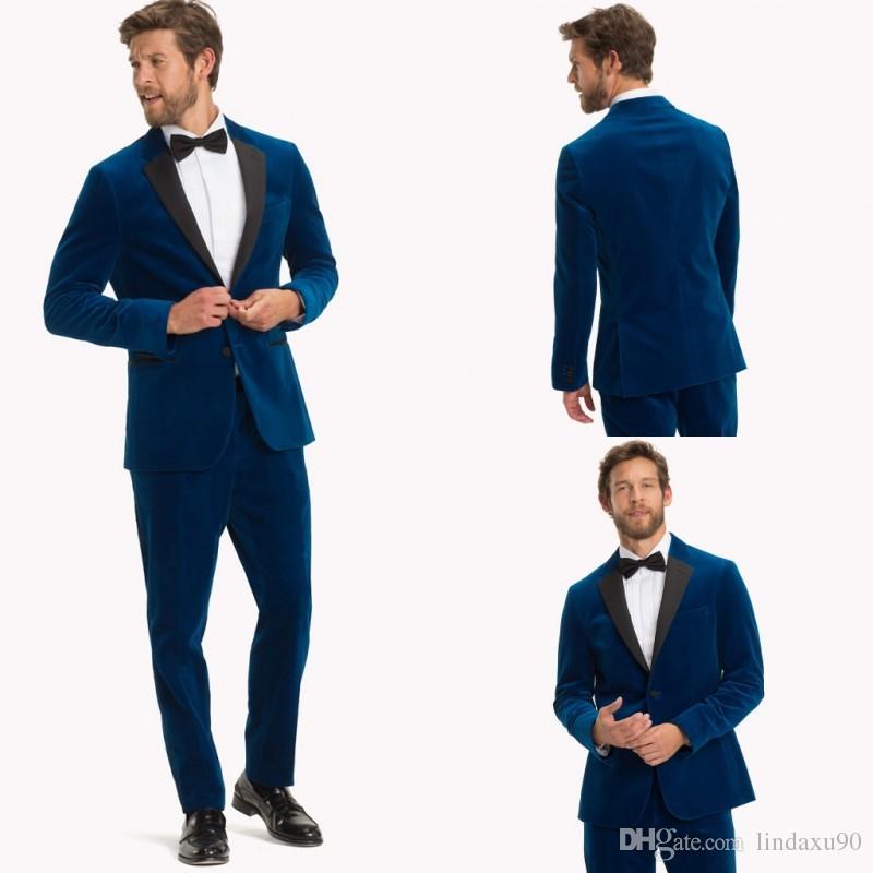 1b3647e946935 Compre Diseñador Azul Trajes Para Hombre Padrinos De Boda Esmoquin Blazer De  Tela Escocesa Pantalones Traje De Dos Piezas Ropa De Novio Para Bodas  Chaqueta ...