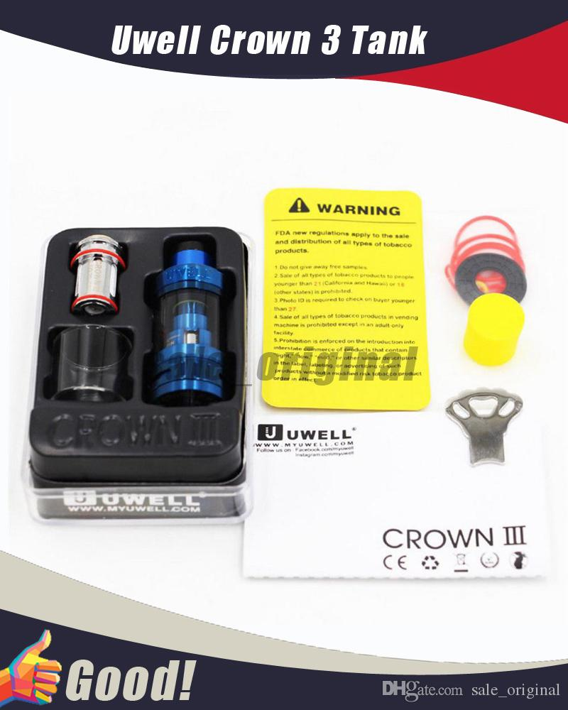 Original Uwell Crown 3 Tank with 5 0ml e-Juice Capacity with Top Filling  Large Clouds Crown III Coil Head
